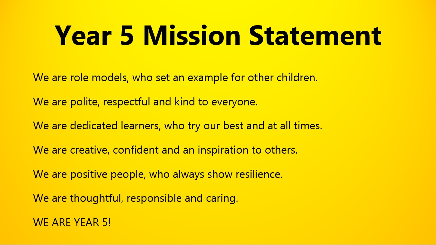 Year 5 Mission Statement